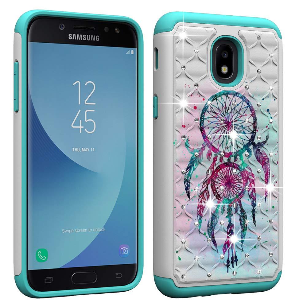 Galaxy J3 2018 Case, Galaxy J3 Star/J3 Achieve/Express/Amp Prime 3 /J3 V 3rd Gen Case Glitter Sparkle Bling Studded Rhinestone Crystal Hybrid Dual Layer Armor Case Blue Dream Catcher Mandala Flowers Berry Accessory