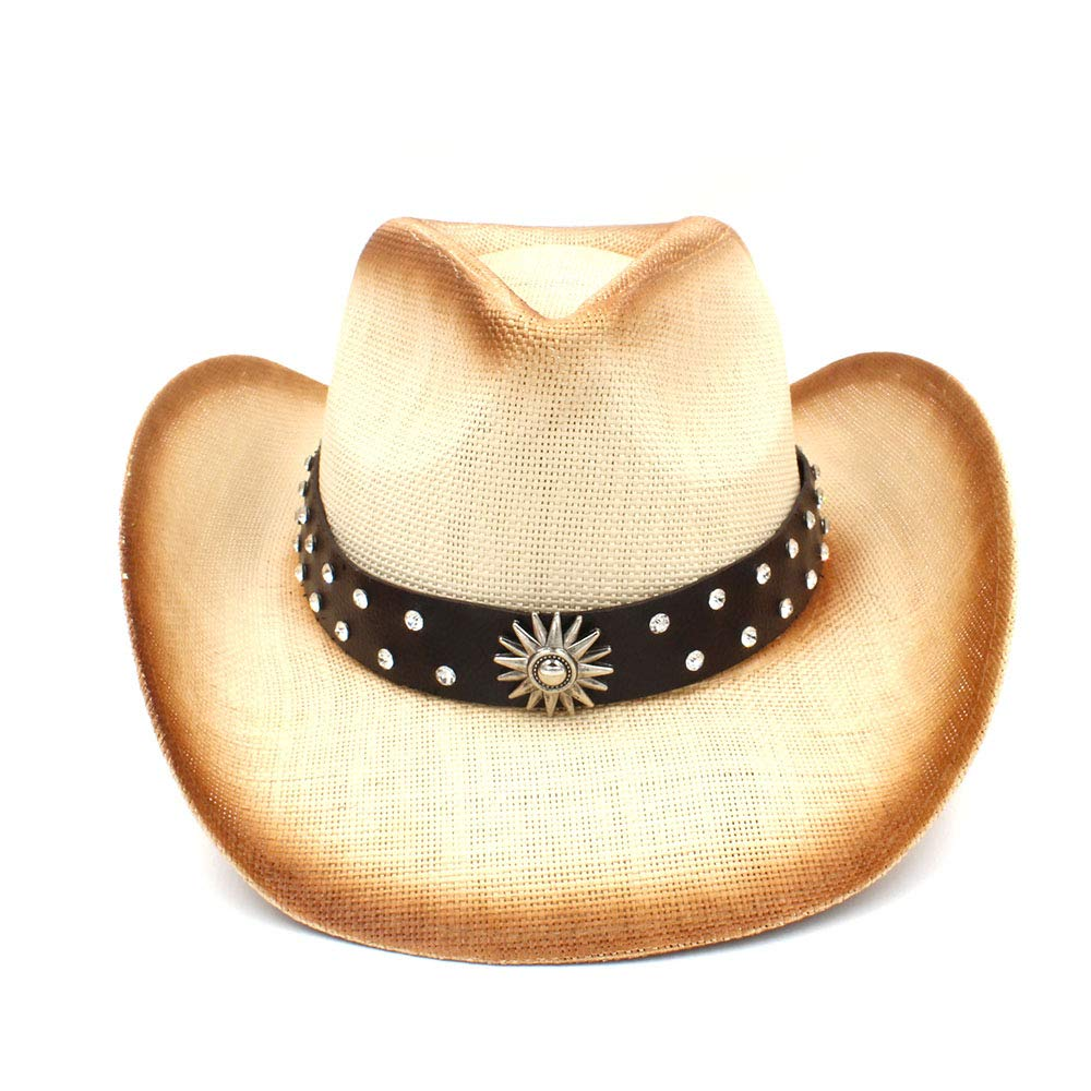 Color : Natural, Size : 58cm MXL Mens Straw Western Cowboy Hat with Punk Leather Band Dad Sombrero Hombre