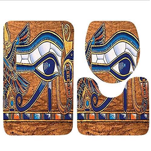 Keshia Dwete three-piece toilet seat pad customEgyptian Collection Antique Old Paper with Egyptian Queen Pyramids Camels Image Orange Yellow