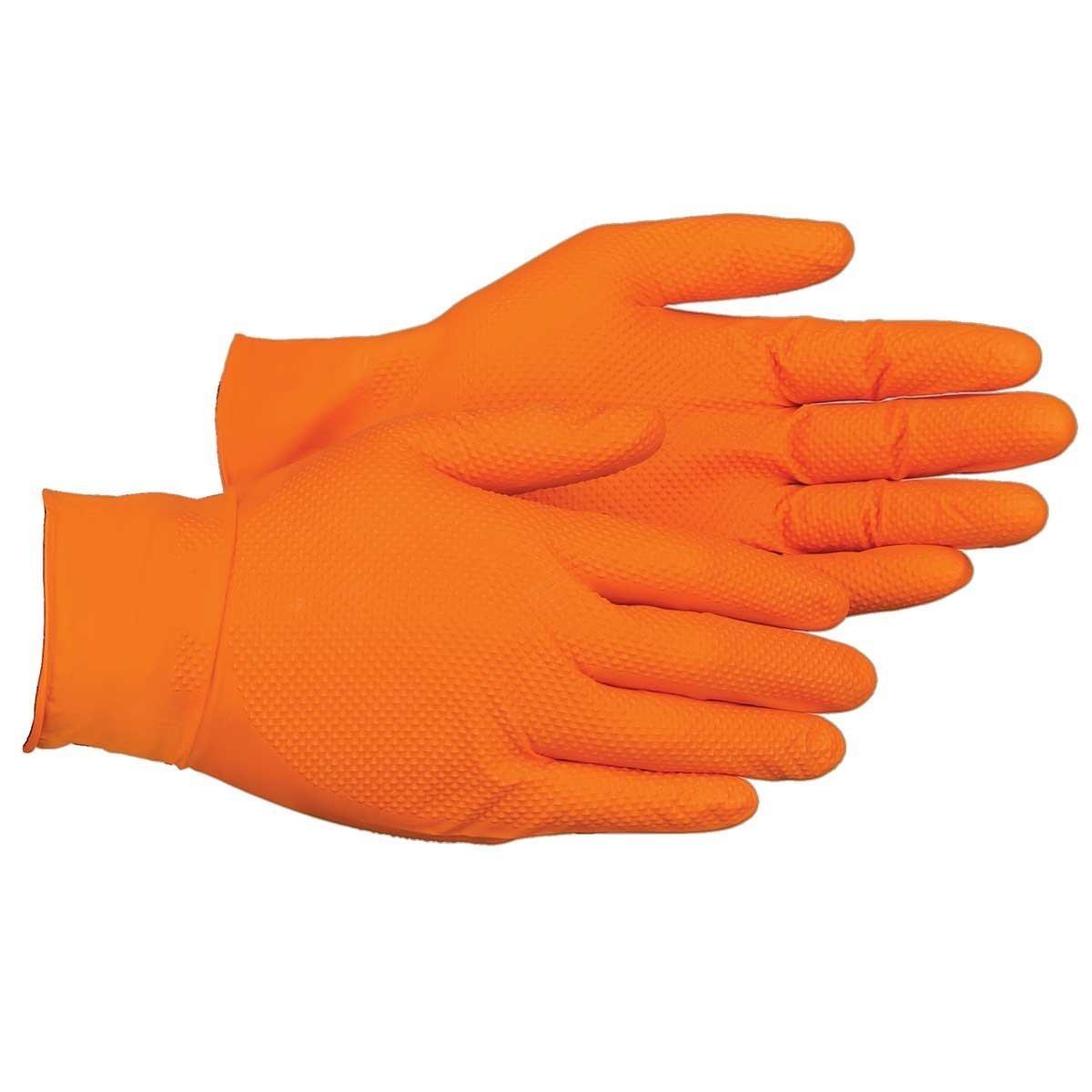 UltraSource Heavy Duty Nitrile Gloves, Tiger Grip, 7 mil Thickness, Hi-Vis Orange, X-Large (Pack of 90)