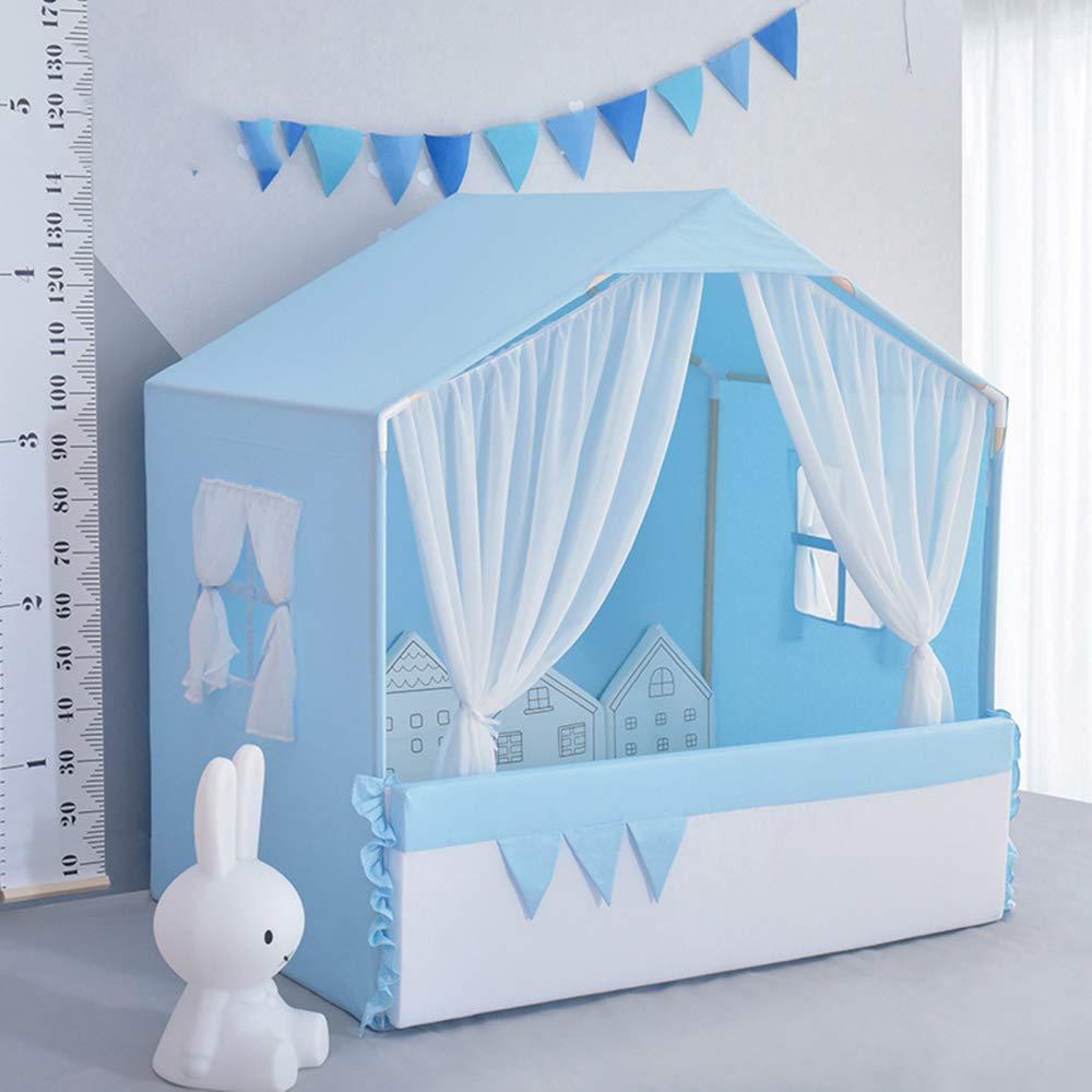 ZMH Indoor-Tipi-Zelt für Kinder, Big Girls Playhouse in Haus mit Bodenmatte aus natürlicher Baumwolle Canvas Geschenk für Kinder Blau