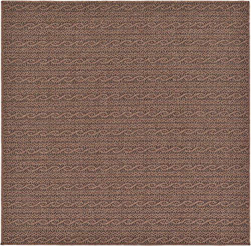 - Unique Loom Outdoor Modern Collection Striped Casual Transitional Indoor and Outdoor Flatweave Brown  Square Rug (6' 0 x 6' 0)