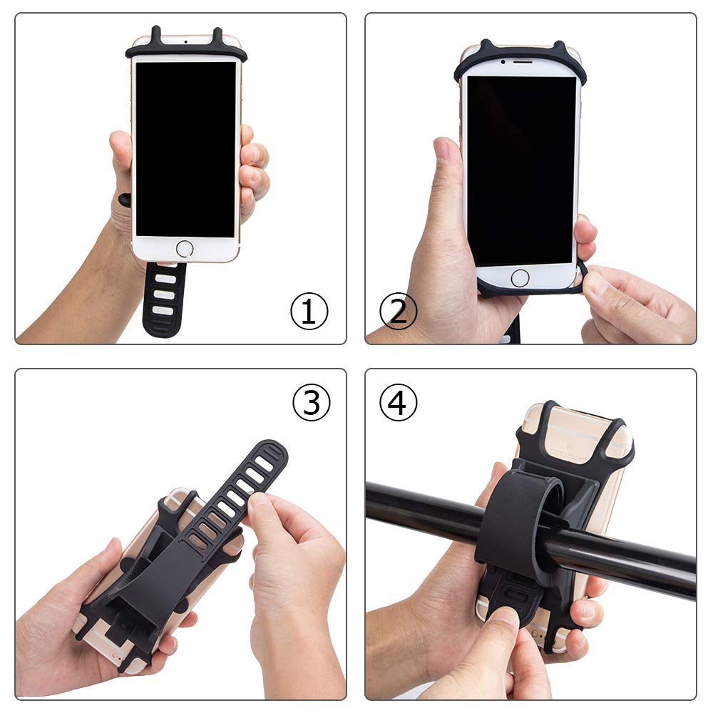 Lizvision Universal Bike Cell Phone Mount,Adjustable 360 Degree Rotation Phone Holder for Bicycle and Motorcycle Handlebar Compatible with from 4.5 inch to 7 inch Screen Cell Phone