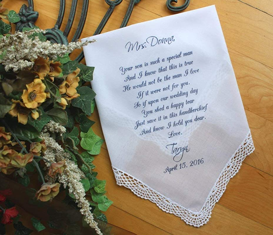 Mom Gift from Groom Personalized-LS5LeCop G3 custom PRINTED wedding Handkerchief Mother of the Groom Gift
