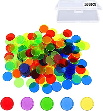 500 piezas Fichas de bingo, fichas de plástico que cuentan fichas de colores, marcadores transparentes de juegos matemáticos, contadores y juguetes matemáticos con una caja de almacenamiento (19 mm): Amazon.es: Juguetes y