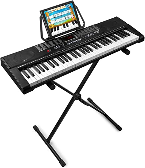 MAX KB2 Teclado electronico piano de 61 teclas con soporte de ...