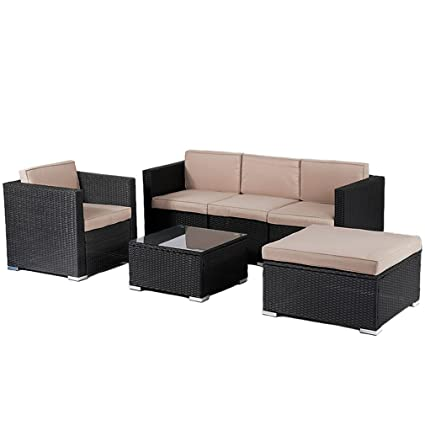 BestMassage Patio Furniture Outdoor Wicker Rattan Garden Furniture Set 6pcs  Sofa Conversation Set Cushions Tempered Glass