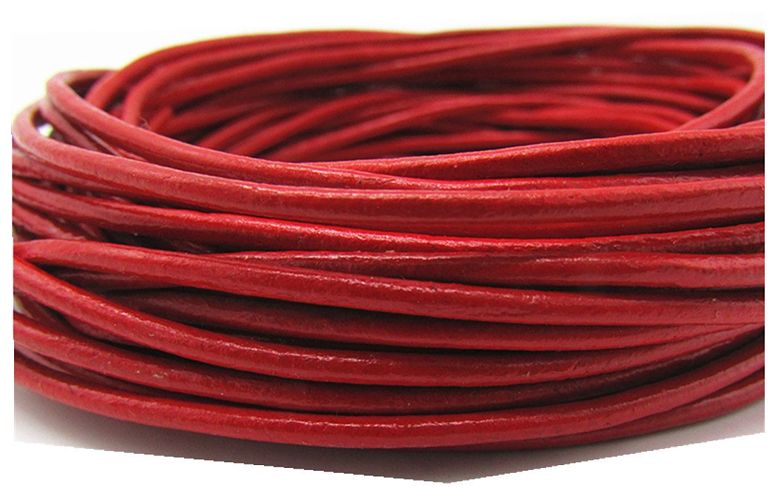 Red 2.0mm Genuine Round Leather Cord for Bracelet Neckacle Beading Jewelry Making 10 Meter