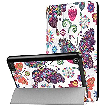 2017 Kindle Fire 7 Case,Kindle Fire 7 inch Case,Fire 2017 Tablet Case,Fire 7th 2017 Case,Ultra Slim Smart Shell Lightweight Leather Cover for Fire HD 7 Inch Display Tablet (2017 Release Only)