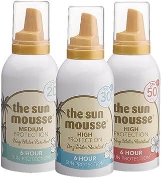 Vacaciones Pack The Sun Mousse parfumfrei parabenos Crema solar de espuma LSF 20 + SPF 30 + LSF 50, 3 x 150 ml: Amazon.es: Salud y cuidado personal
