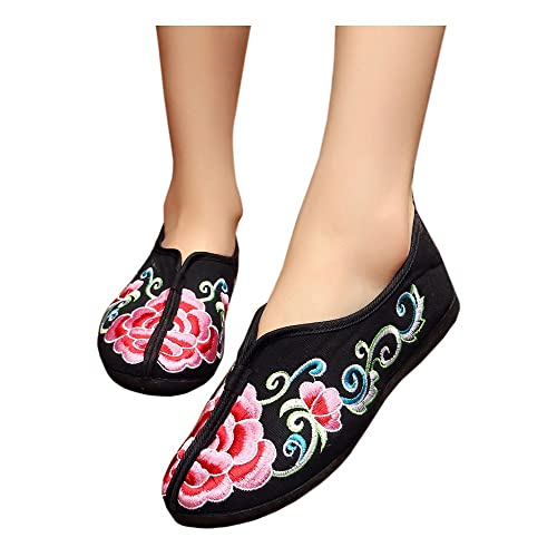 c88350974cd Las Mujeres Embarazadas Lona Suave Bordado Slip Up Piso Suela de Goma  Mocasín Engrosamiento Mamá Zapatos