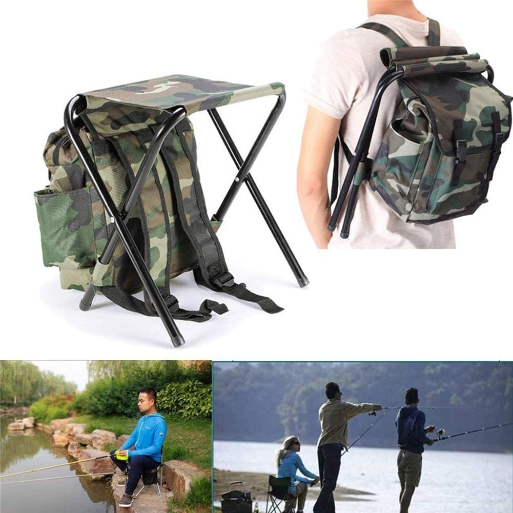 BESTEU 2 in 1 Portable Camouflage Camping Fishing Chair Backpack Folding Outdoor Hiking Picnic Beach Stool Seat