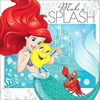 "Amscan Girls Enchanting Disney Ariel Dream Big Birthday Party Beverage Napkins (Pack Of 16), Green/Blue, 5"" x 5"": Toys & Games"