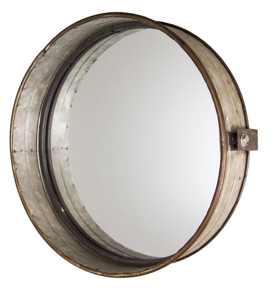 industrial chic drum mirror in rustic galvanized finish  . amazoncom stonebriar oval rustic bronze metal mirror with rivet