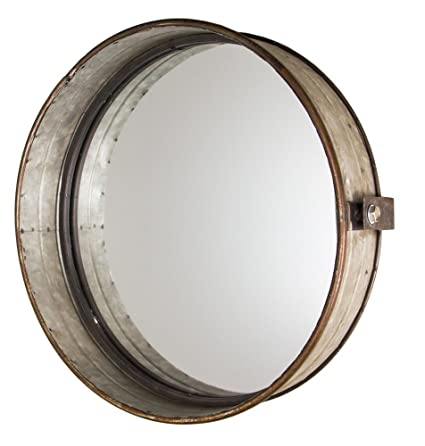 Industrial Chic Drum Mirror In Rustic Galvanized Finish