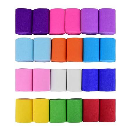 24 De crepé bandas, 12 colores diferentes, cada uno 10 mx 5 cm, papel crepé para decoración fiesta de fiesta Decoración, de ewtshop