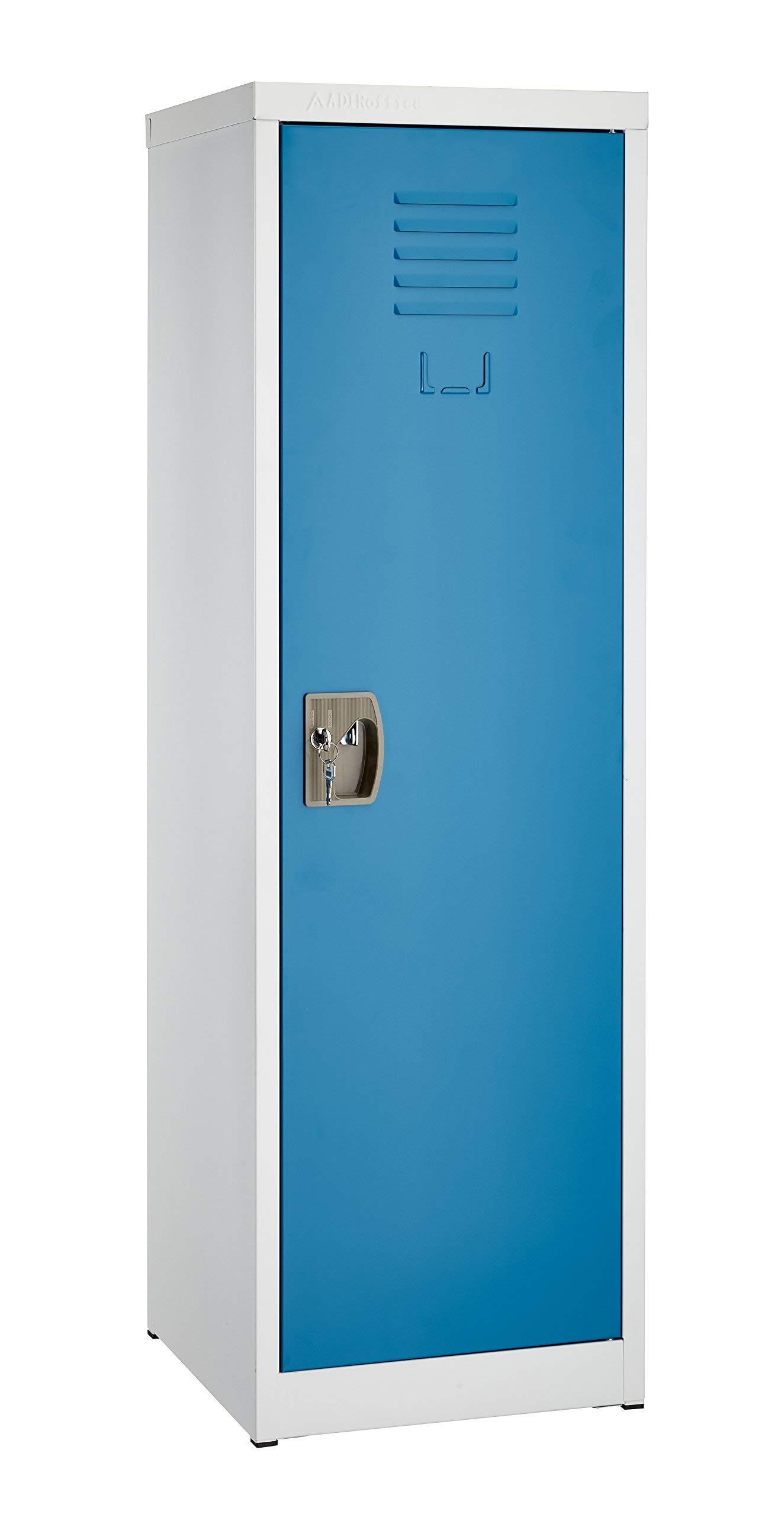 AdirOffice Kids Steel Metal Storage Locker - for Home & School - with Key & Hanging Rods (48 Inch, Blue) by AdirOffice