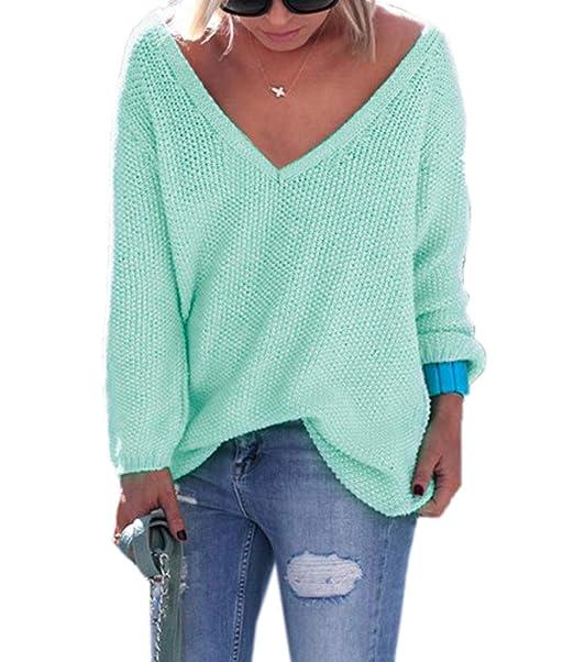 Simple-Fashion Mujeres Suéter Otoño Invierno Casual Suelto Colores Lisos  Sweater Prendas de Punto Jerseys Tops Blusa Atractivo Moda Cuello V Manga  Larga ... 1dfbfb747ea1