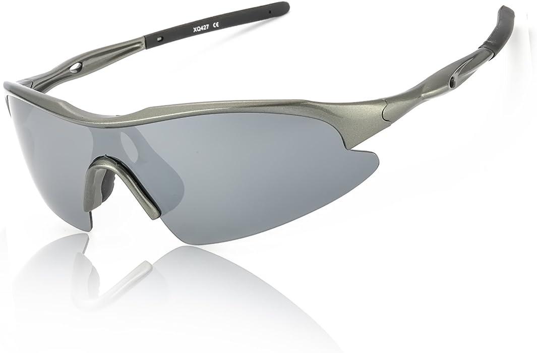 Deportivas Gafas De Sol Polarizadas Espejo Hombre 100% Protección UVA UVB Ultra Ligero Marco para Corriendo Pesca Golf