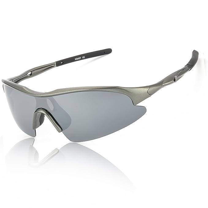 Deportivas Gafas De Sol Polarizadas Espejo Hombre 100% Protección UVA UVB Ultra Ligero Marco para