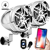 GoldenHawk 4'' Waterproof Bluetooth Wireless Motorcycle Stereo Speakers 7/8 - 1.25 in. Handlebar Mount MP3 Music Player Sound Audio System Scooter ATV UTV w/ USB, Remote, Radio, Amplifier (Chrome)