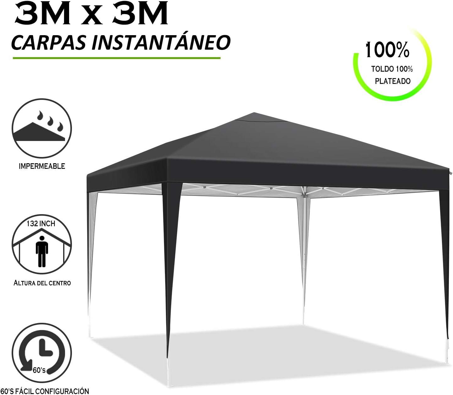 YUEBO Carpa 3x3 m Carpas Plegables Impermeables Gazebo Plegable Cenador Plegable Camping Cenadores para Jardin, Fiestas: Amazon.es: Jardín