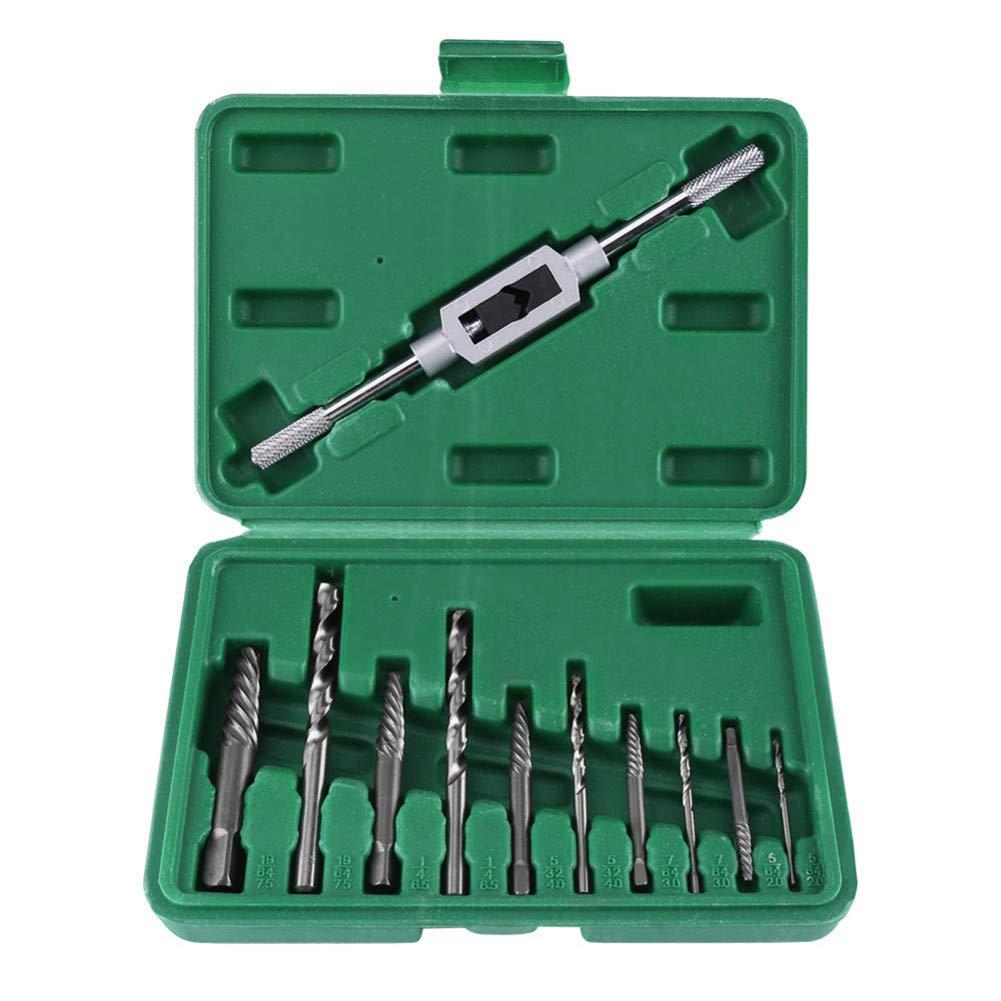 Sunxenze 11PCS Damaged Screw Extractor Set, Remove Broken Head Screw & Bolt, 10 Pcs Drill Bits Set + 1 Pcs Holding Wrench by Sunxenze