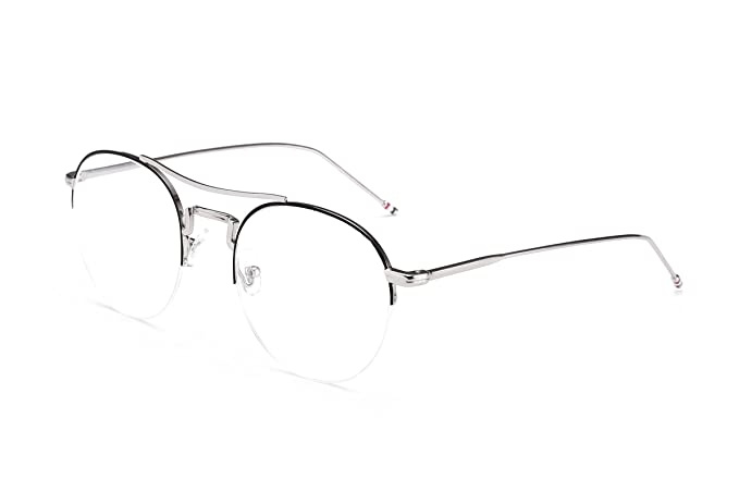 b0207fa5a9 Image Unavailable. Image not available for. Color  FEISEDY Pure Round Metal  Half Frame Glasses Clear Lens Women Sunglasses B2274