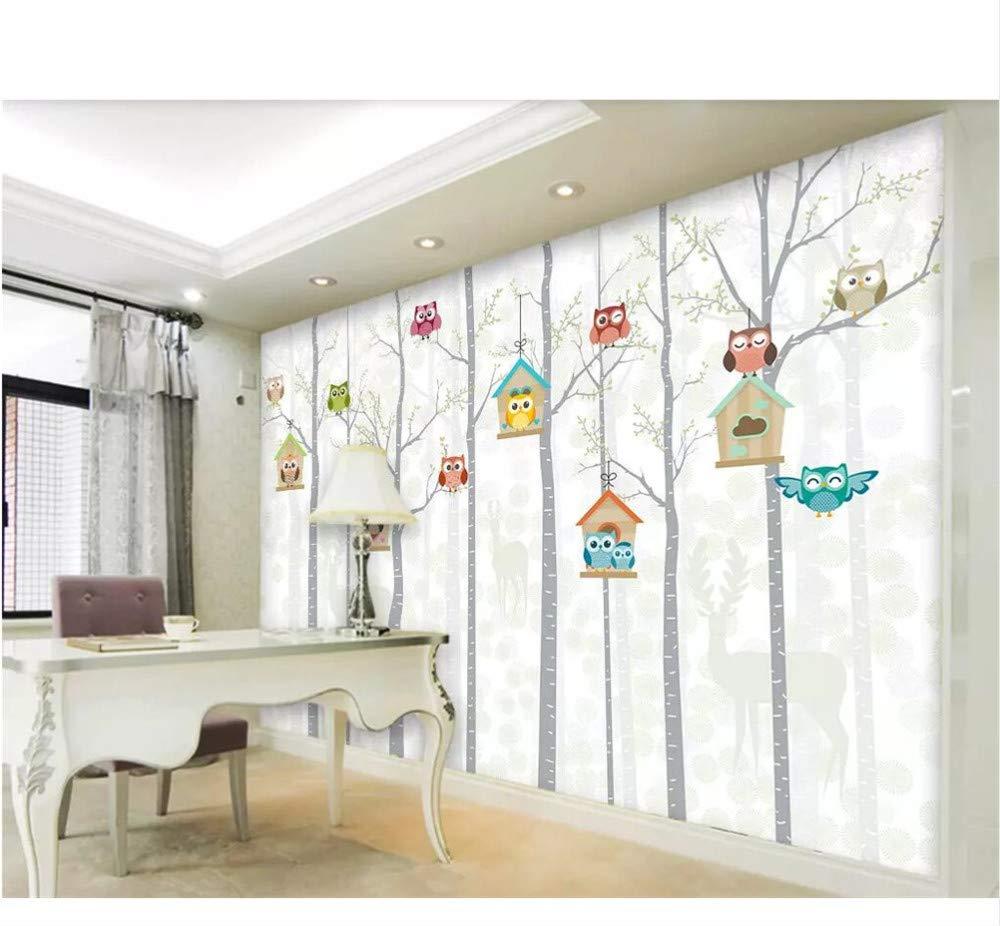 Finloveg Benutzerdefinierte Tapete Eule Hintergrund Wand Kinderzimmer Wandbilder Home Decoration Wohnzimmer Schlafzimmer Tv Wandbild 3D Tapete-250X175Cm