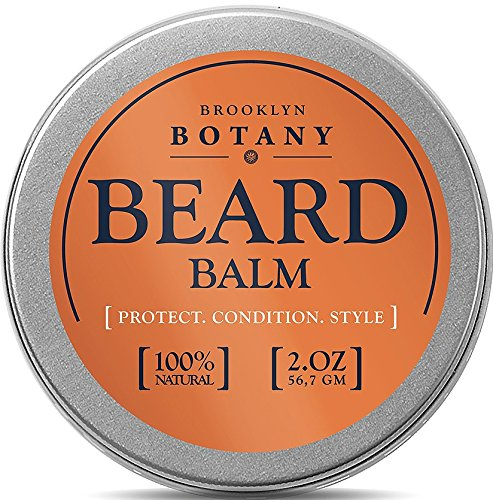 Beard & Mustache Balm / Wax / Oil / Leave In Conditioner 2 oz - 100% Natural, Soothes Itching - Thickens, Strengthens, Softens, Tames & Styles Facial Hair - Brooklyn Botany