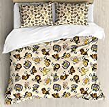 Kids Queen Size Duvet Cover Set by Ambesonne, Soccer Playing Lions Horses Chickens Piegons and Koalas Cartoon Sports Pattern, Decorative 3 Piece Bedding Set with 2 Pillow Shams, Beige Multicolor