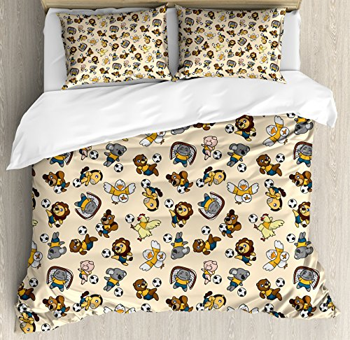 Kids Queen Size Duvet Cover Set by Ambesonne, Soccer Playing Lions Horses Chickens Piegons and Koalas Cartoon Sports Pattern, Decorative 3 Piece Bedding Set with 2 Pillow Shams, Beige Multicolor by Ambesonne