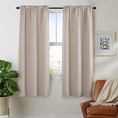 Rod Pocket Curtains French Door Curtains Beige Linen Look Room Darkening Curtains 72 inch Long 1 Pair