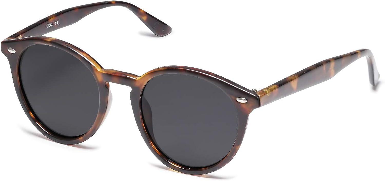 SOJOS Classici Occhiali da Sole Rotondi Polarizzati con Rivetti Lente a Specchio UV400 SJ2069 ALL ME