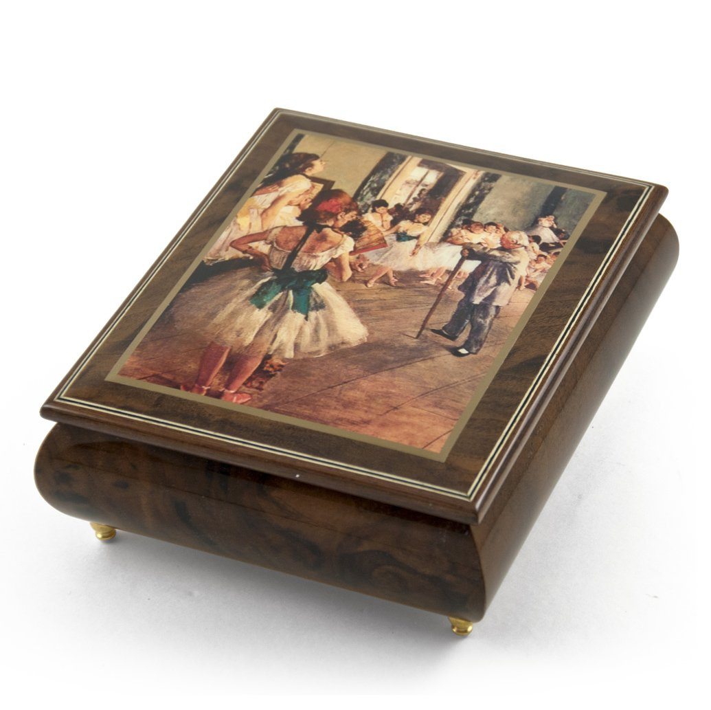 Gorgeous Wood Tone Ercolano Painted Music Box Titled ''La Classe de Dance 1874'' by Edgar Degas - Can't Help Falling In Love with You