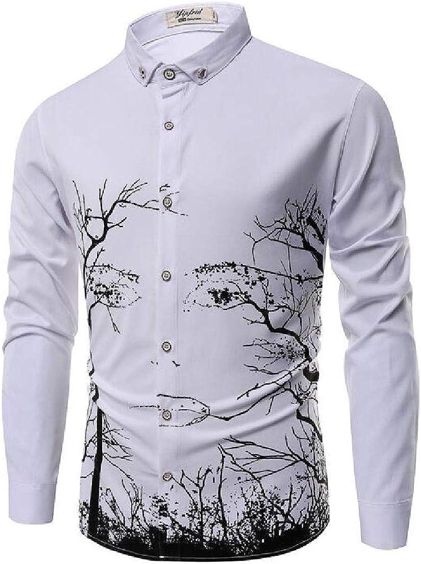 SELX Men 3D Printed Slim Big /& Tall Long Sleeve Button Down Shirts