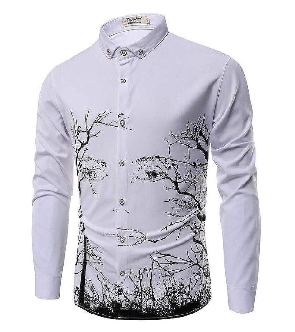 Domple Mens Plus Size Slim Print Button Front Long Sleeve Shirt