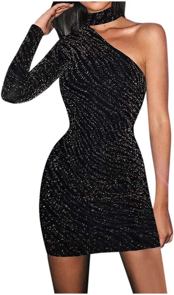 One Shoulder Party Midi Women Dress Bodycon Club Evening Cocktail Pencil Dresses