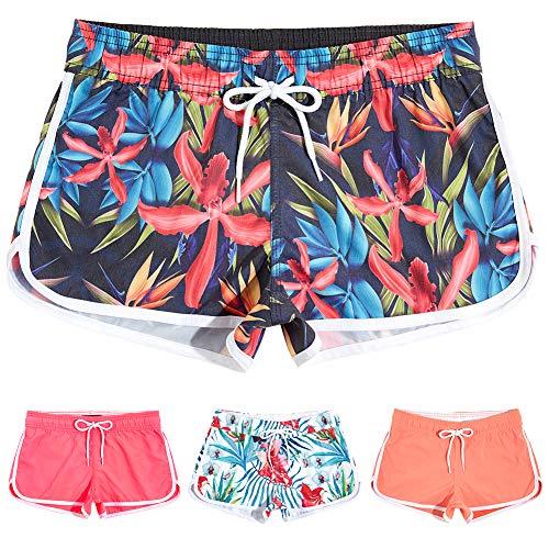MaaMgic Womens Swim Shorts Summer Boardshorts Quick Dry Womens Short Stretchy Beach Wear Swim Bottom Trunks