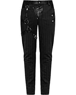 d61b92adf7 Punk Rave Mens Dieselpunk Pants Jeans Black Gothic Punk Steampunk Strap  Trousers