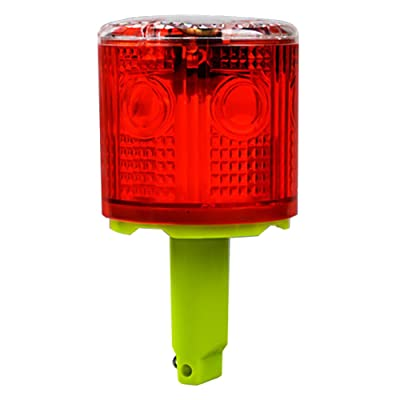 Aolyty Solar Strobe Warning Light 360 Degree Single Column Super Bright Waterproof IP48 for Construction Traffic Dock Marine Wireless Light Control Flashing (Red): Automotive