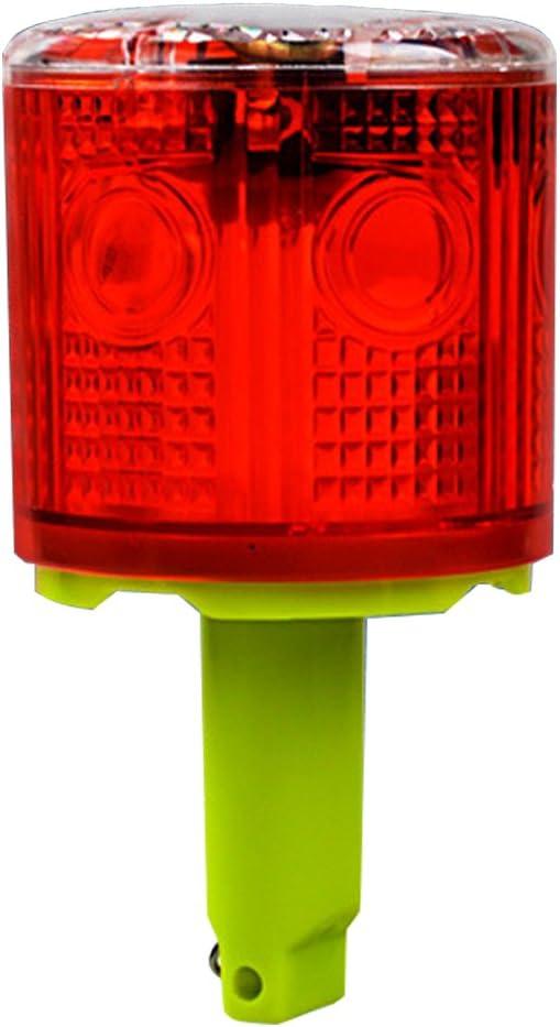 Aolyty Solar Strobe Warning Light 360 Degree Single Column Super Bright Waterproof IP48 for Construction Traffic Dock Marine Wireless Light Control Flashing Yellow