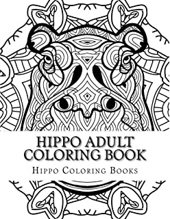 hippo adult coloring book large print one sided stress relieving relaxing hippo coloring book - Hippo Coloring Pages
