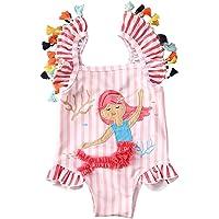 Kids Toddler Baby Girl One Piece Swimsuit Beach Wear Striped Mermaid Tassels Swimwear Bathing Suits