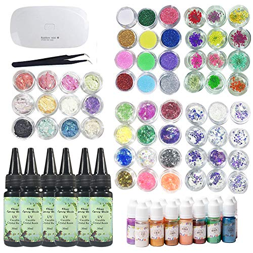 (UV Epoxy Resin Crystal Clear Transparent with Compact UV Lamp + 60 Decoration Sets + 15 Pearlescent Color Pigment, Including Glitter Dried Flowers Holographic Sequins Glassine Nacre Shell)