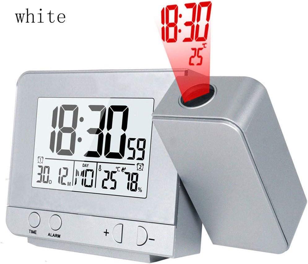 YNND Reloj Despertador De Proyección, LED Proyector Digital ...