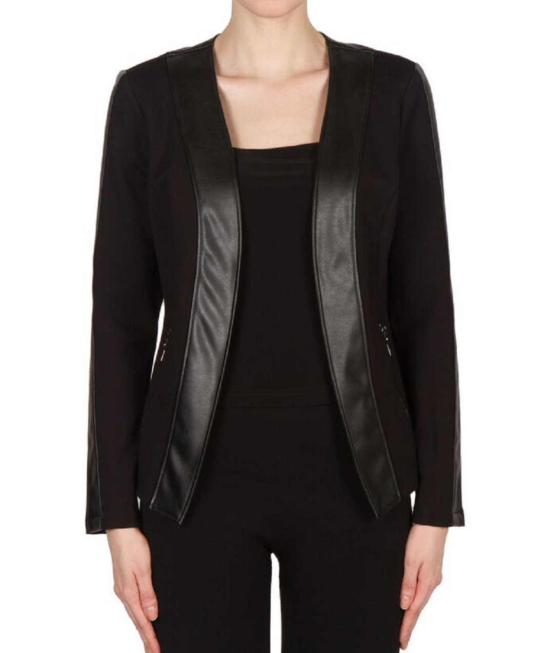 Joseph Ribkoff Black Leatherette Trim Jacket Style 173400 Size 8