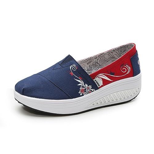 Zapatos de Mujer Shake, 2018 Zapatos de Primavera/Otoño Perezosos, Zapatos de Lona de Impresión, Zapatos de Señora Wedge Mocasines Antideslizantes Ligeros: ...