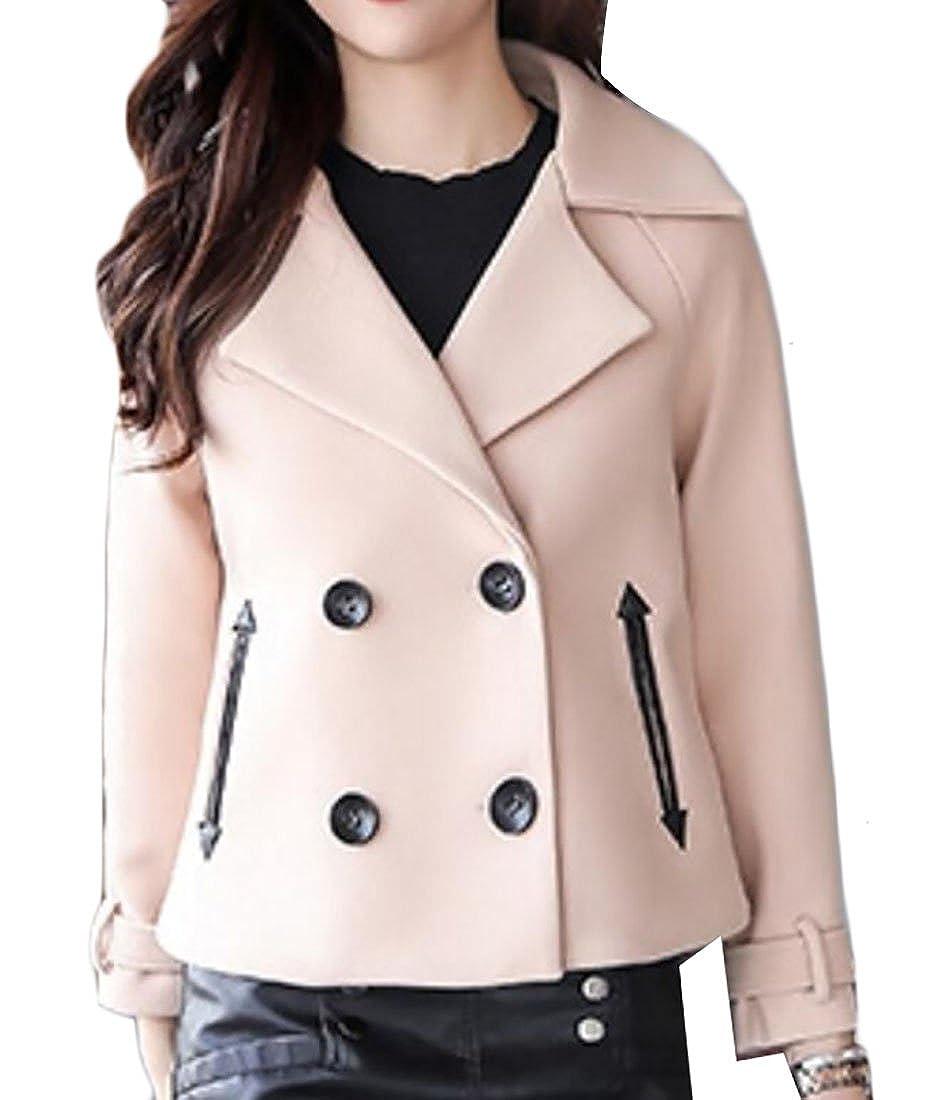 1 Qiangjinjiu Women's Solid color DoubleBreasted Warm Short Woolen Jacket