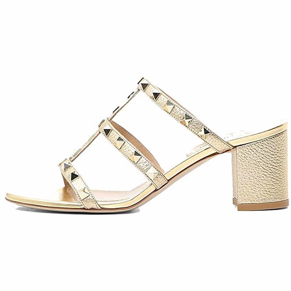 Chris-T Chunky Heels for Womens Studded Slipper Low Block Heel Sandals Open Toe Slide Studs Dress Pumps Sandals 5-14 US B07DH7QJHZ 10 M US|Gold 5cm